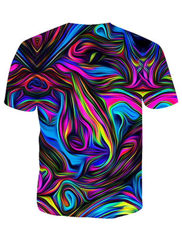 Men's Cotton T-shirt - Geometric / 3D / Rainbow Print Round Neck