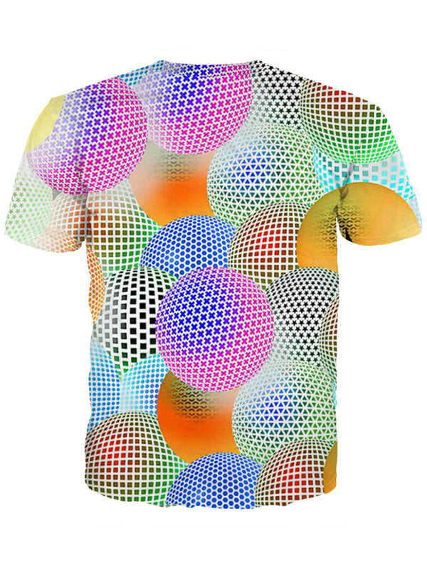 Women's Plus Size Ball 3D Print T-shirt Round Neck Short Sleeve 5782