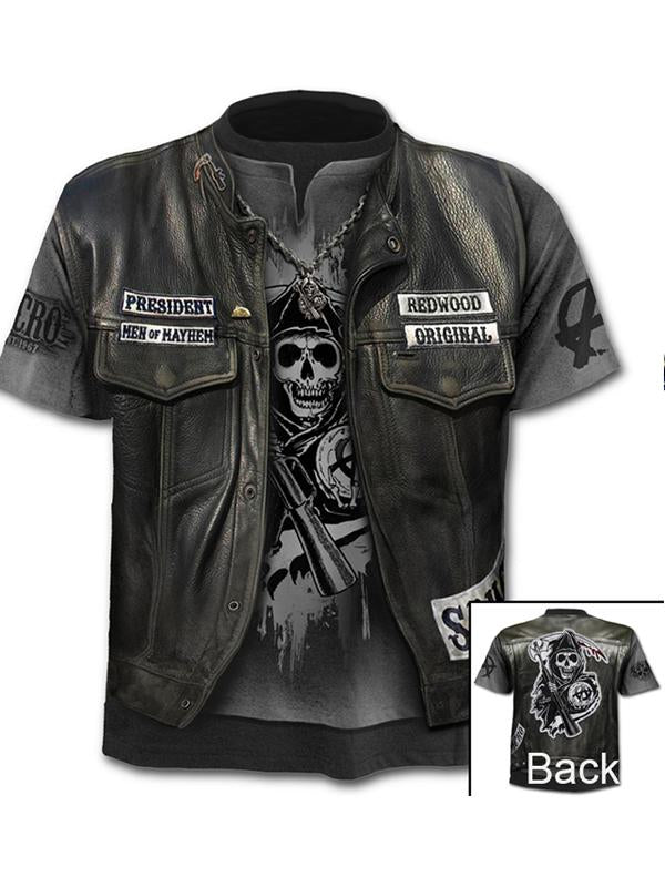 Men's Fake two-piece Digital T-shirt - 3D Skull Print Round Neck