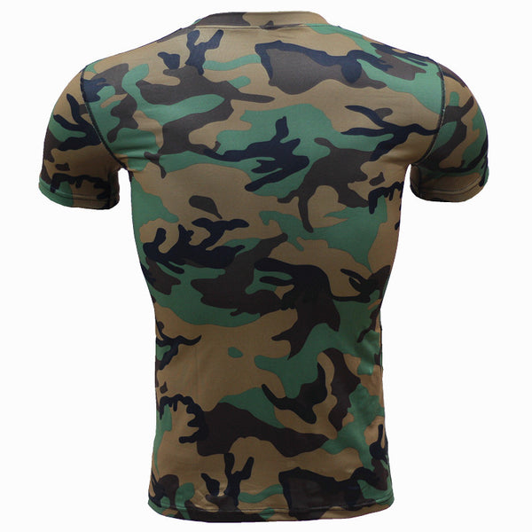 Men's Sports Fitness Short Sleeve T-Shirt 3D Print Superhero Quick Dry Breathable Camouflage