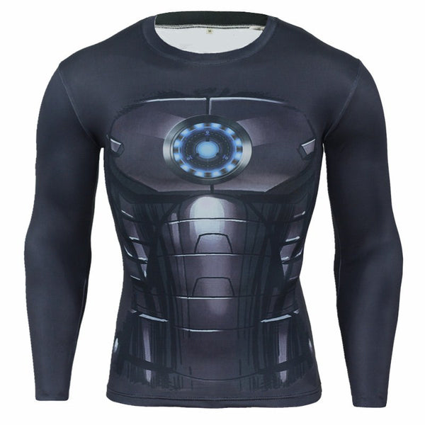 Men's Sports Fitness Long Sleeve T-Shirt 3D Print Superhero Quick Dry Breathable Iron