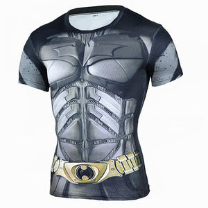 Men's Sports Fitness Short Sleeve T-Shirt 3D Print Superhero Quick Dry Breathable