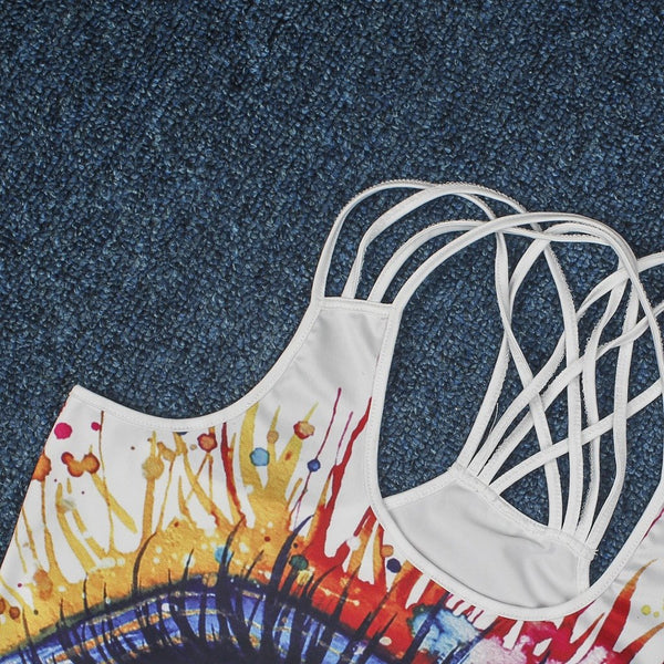 Women's 3D Digital Print Tank Tops Vest Cross Strap Backless B104-029