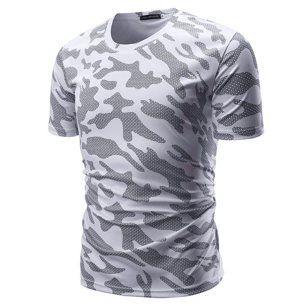 Men's Camouflage Slim Fit Breathable Round neck Cotton Short Sleeve 5894