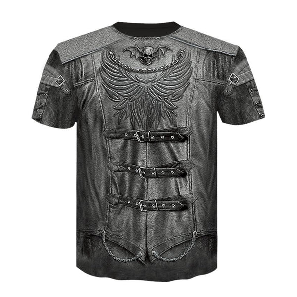 Men's Fake two-piece Digital T-shirt - 3D Print Round Neck
