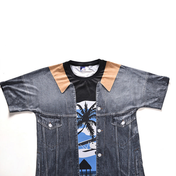 Men's Cool Fake two-piece T-shirt - 3D Plant Print Round Neck 1389