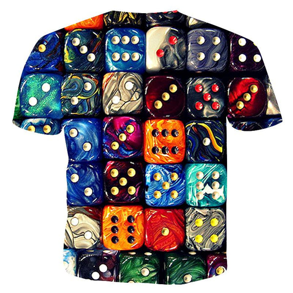 Men's O-neck Cool Funny Polyester T-shirt - 3D Dice Print Round Neck