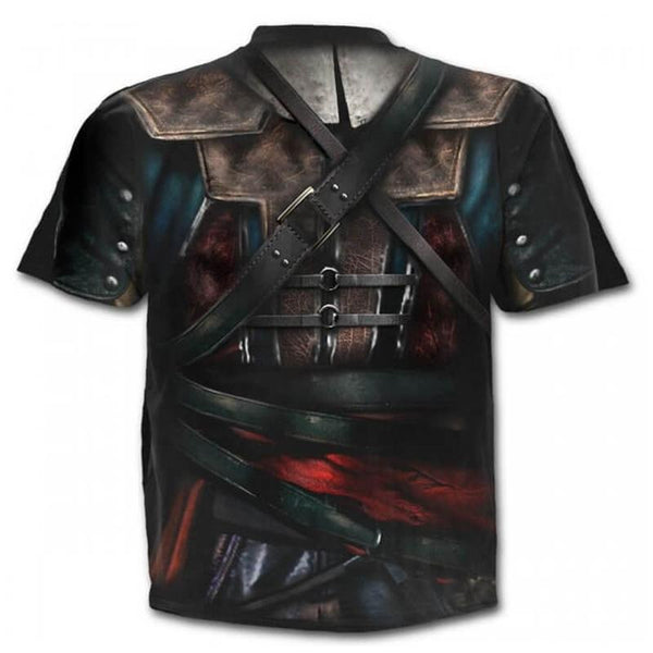 Men's Cool Fake two-piece Digital T-shirt - 3D Print Round Neck 9284