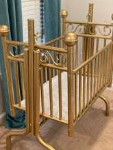 Load image into Gallery viewer, Corsican Tiffany Brass Cradle Refinished in Gold