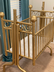 Corsican Tiffany Brass Cradle Refinished in Gold