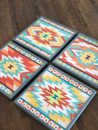 Set of 4 Mesa Motif Framed Wall Art