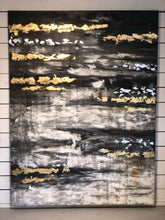 Load image into Gallery viewer, Hand Painted Abstract Gold & Black Canvas Art