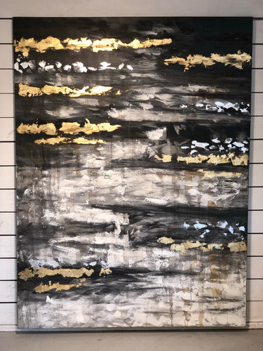 Hand Painted Abstract Gold & Black Canvas Art