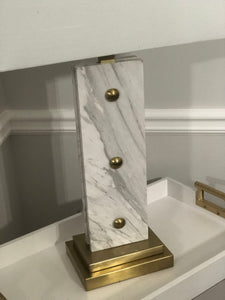 White Marble & Soft Brass Table Lamp