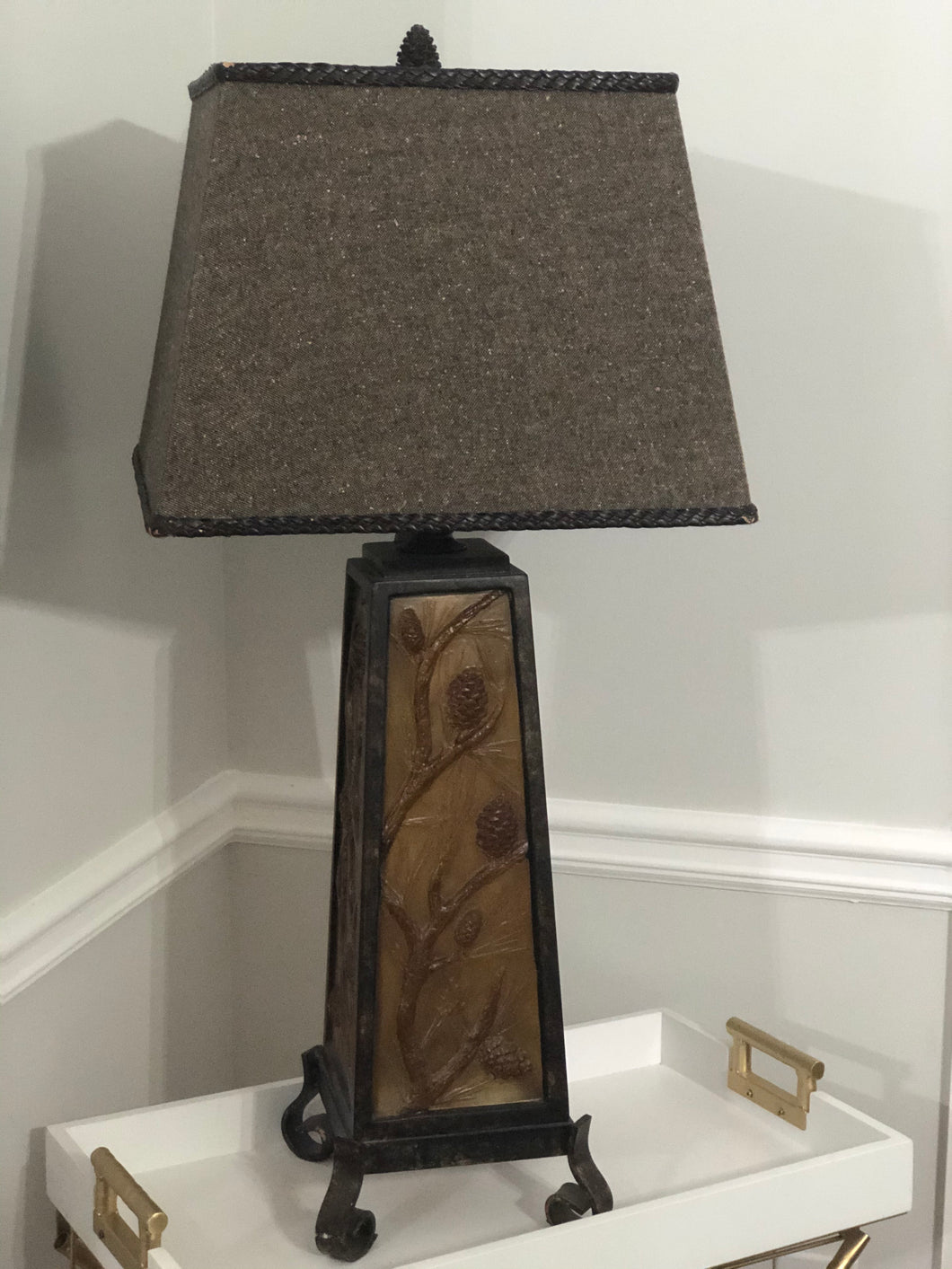Resin Table Lamp with Night Light in Base