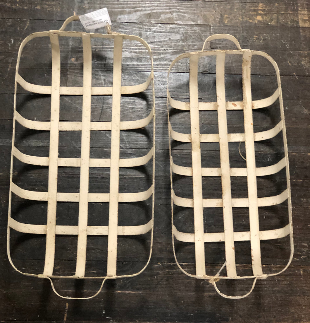 Antique White Chippy Iron Tobacco Baskets
