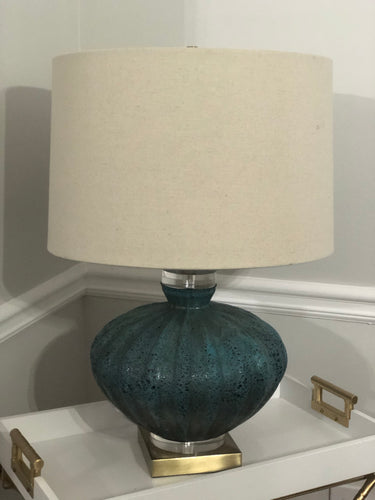 Turquoise Volcano & Antique Brass Finish Table Lamp