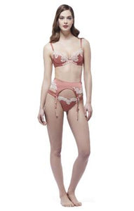 MYLA Heritage Silk Suspender - Tea Rose/Rose Gold