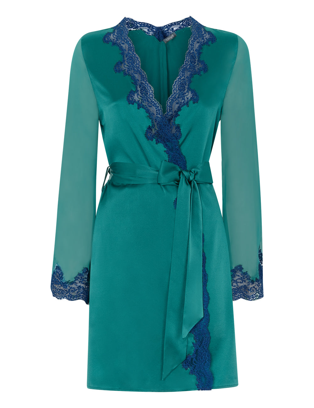 MYLA Heritage Silk Short Robe - Emerald/Ink Blue - XS - S - M - L - XL
