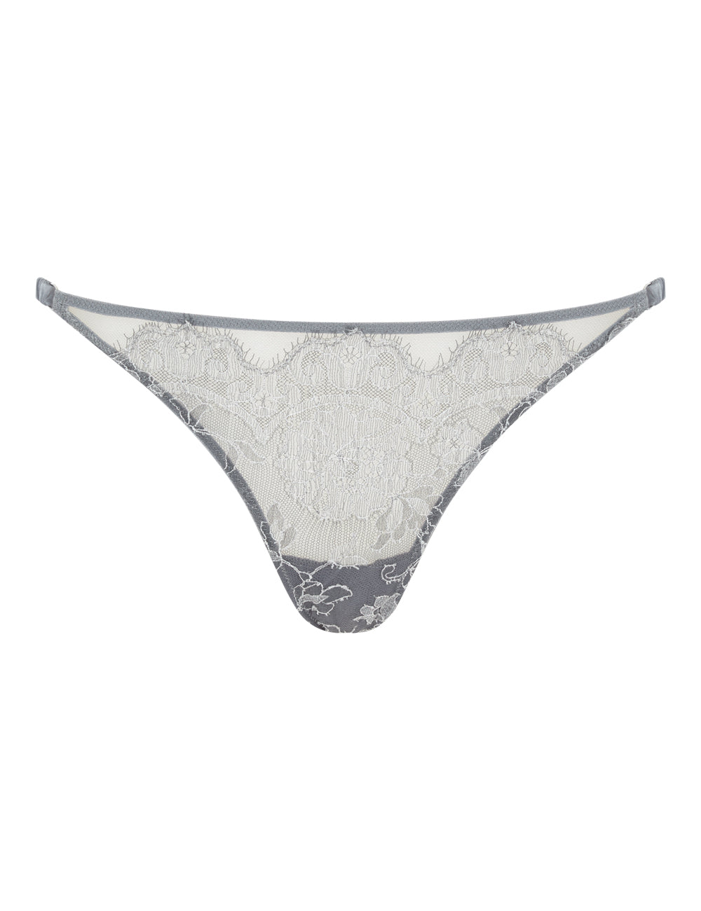 Pleat and Lace Thong Smoke