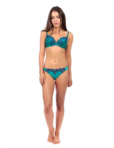 MYLA Heritage Silk Padded Plunge Bra - Emerald/Ink Blue