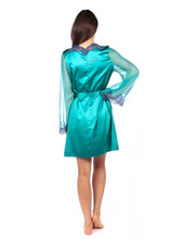 Load image into Gallery viewer, MYLA Heritage Silk Short Robe - Emerald/Ink Blue