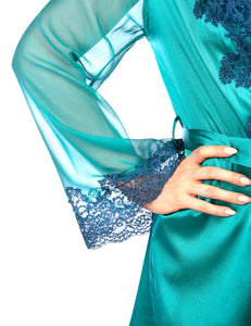 MYLA Heritage Silk Short Robe - Emerald/Ink Blue