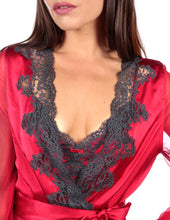 Load image into Gallery viewer, MYLA Heritage Silk Short Robe - Lipstick/Slate - XS - S - M - L - XL