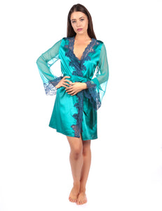 Myla Heritage Silk Sort Robe Emerald Ink
