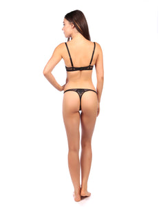 MYLA Lace Embroidery Thong - Black
