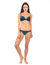 Load image into Gallery viewer, MYLA Patchwork Silk Padded Plunge Bra - Ink Blue