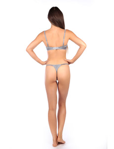 MYLA Pleat & Lace Thong - Smoke