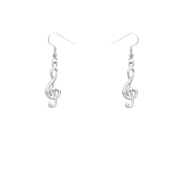 Treble Clef Pewter Earrings
