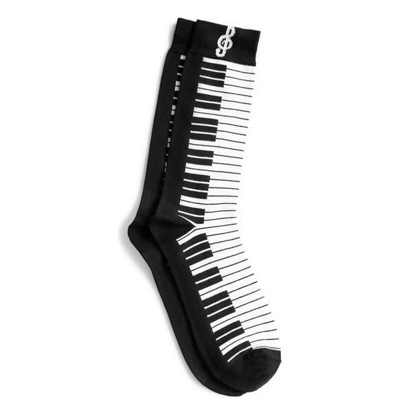 Men's Black and White Piano Socks