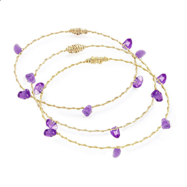 Guitar String Amethyst Bangle Set