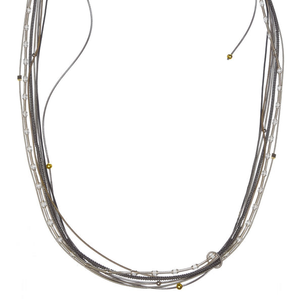 Multi-Strand Long Piano Wire Necklace