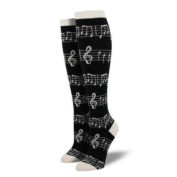 Women's Music Knee Highs, Black