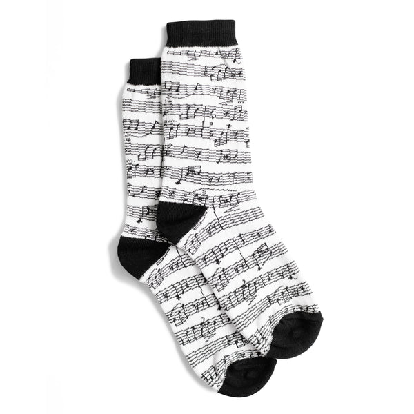 Women's White Sheet Music Socks