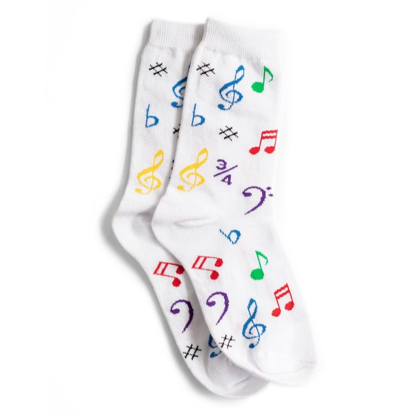Women's White Socks with Multicolored Notes