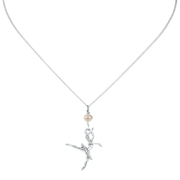 Silver Ballerina Music Charm Necklace with Pearl