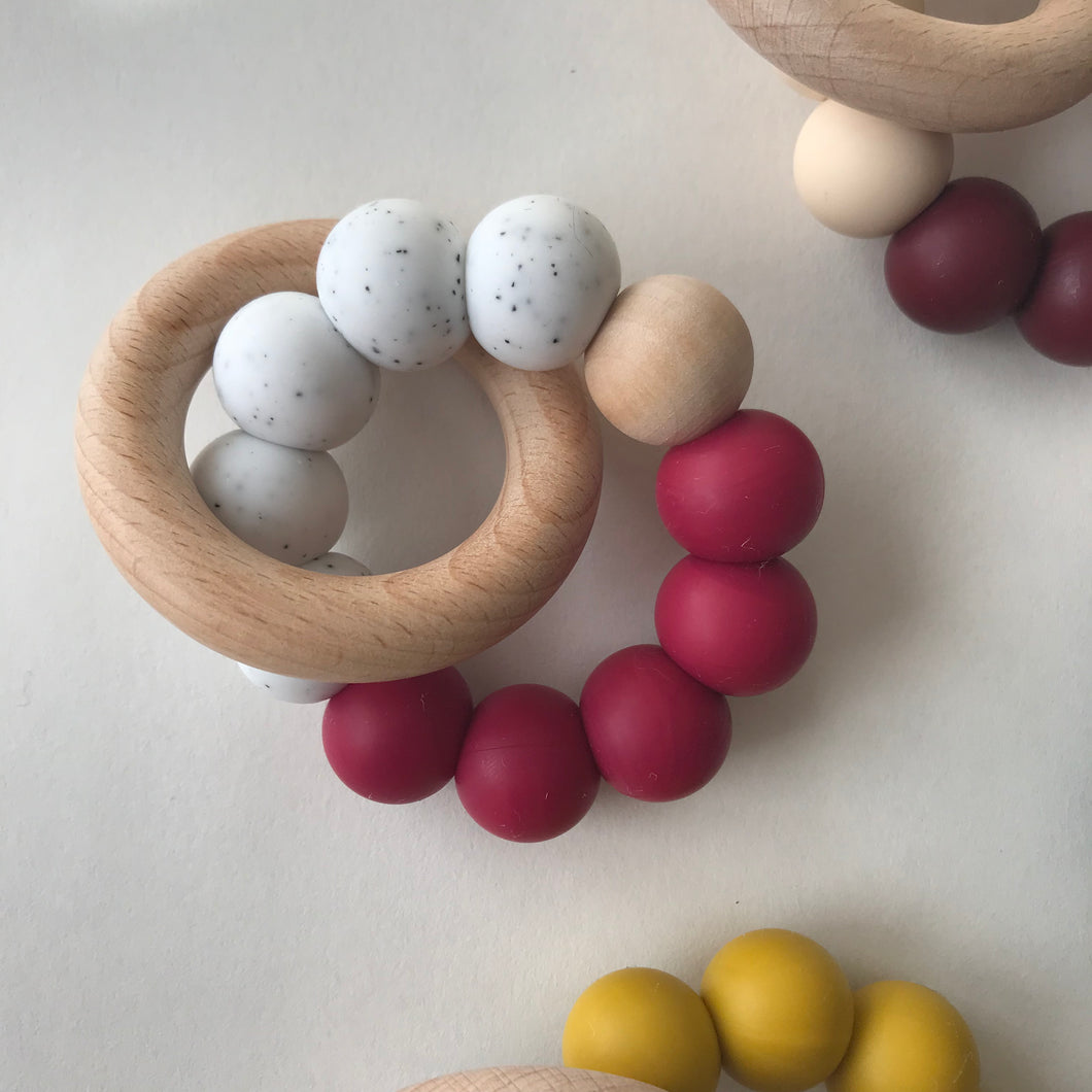 Modern Teether - Speckled Raspberry