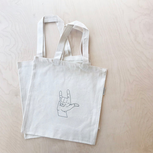 I Love You Sign Language Organic Cotton Shopping Tote