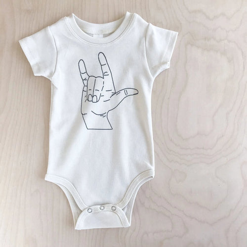 I Love You Sign Language Organic Cotton Infant Bodysuit
