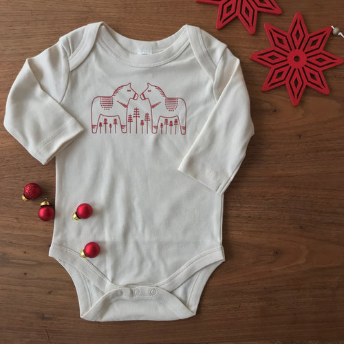 Holiday Organic Dala Horse Long Sleeve Bodysuit