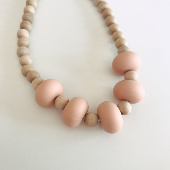 Modern Silicone and Wood Sensory Teething Necklace - Four Color Options