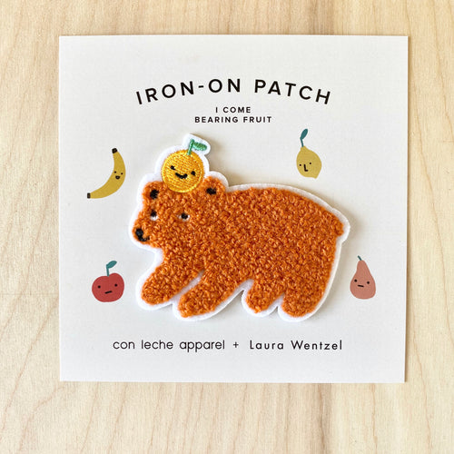 I Come Bearing Fruit Chenille Iron-On Bear Patch