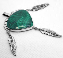 "Load image into Gallery viewer, ""Dreamcatcher,"" Malachite Pendant in Sterling Silver"