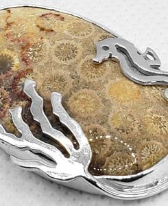 """Under the Sea,"" Fossilized Coral Pendant in Sterling Silver"
