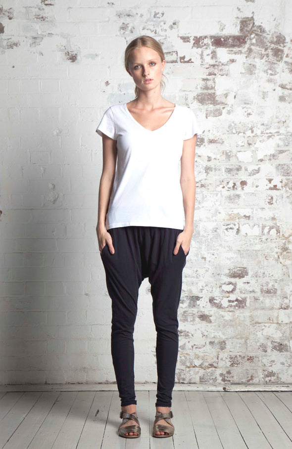 ORGANIC COTTON SLOUCH PANT - BLACK - Tluxe
