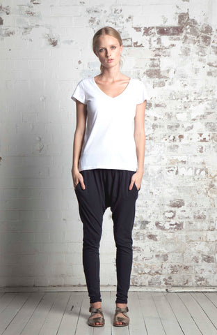 ORGANIC COTTON SLOUCH PANT - BLACK